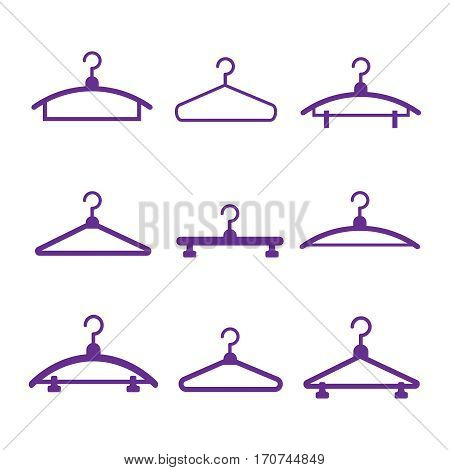 Hangers vector black icons. Cloth hanger object hanger set. Hangers vector