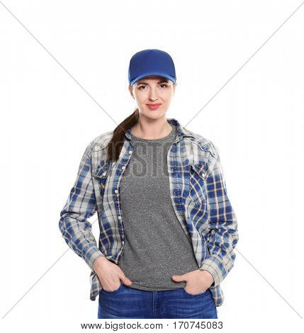 Long-haul truck driver on white background