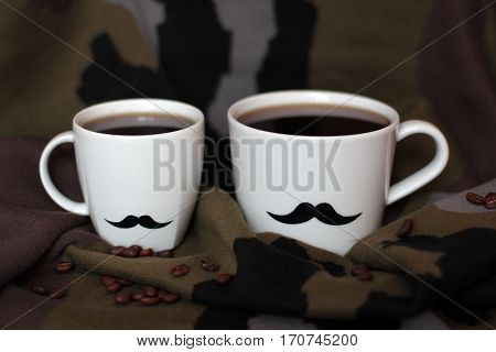 two men's cups with mustaches on a background of coffee and khaki