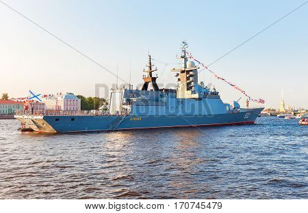 ST. PETERSBURG RUSSIA - JULY 31 2016: Russian navy. Missile Corvette