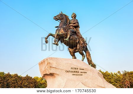 SAINT PETERSBURG RUSSIA - JULY 28 2016: The equestrian monument of Russian emperor Peter the Great known as The Bronze Horseman in St. Petersburg Russia (1782)