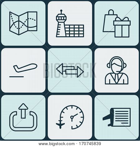 Set Of 9 Airport Icons. Includes Operator, Crossroad, Road Map And Other Symbols. Beautiful Design Elements.