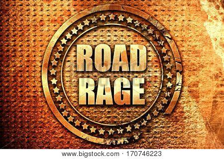 road rage, 3D rendering, text on metal