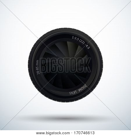 Camera photo lens with shutter. Diaphragm of a camera lens aperture. Vector illustration.