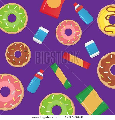 Fast food snacks and drinks flat vector icons. Fast food vector