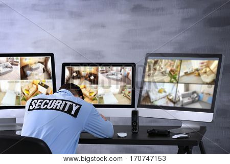 Safety of private property and modern technology. Safeguard sleeping at work