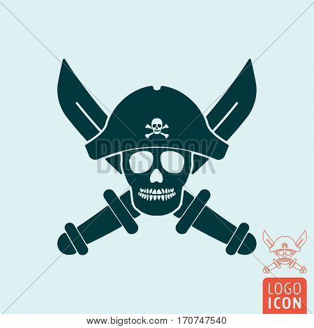 Pirate skull icon. Dead pirate with hat and crossed sabers. Vector illustration.