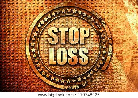 stop loss, 3D rendering, text on metal