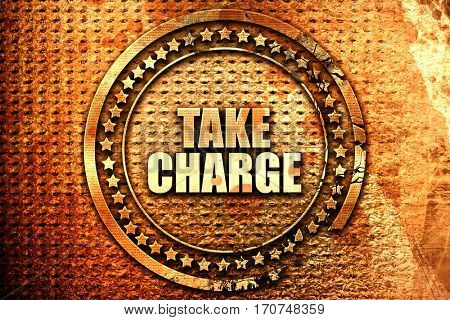 take charge, 3D rendering, text on metal