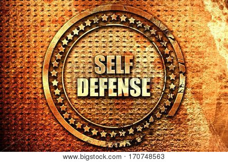 self defense, 3D rendering, text on metal