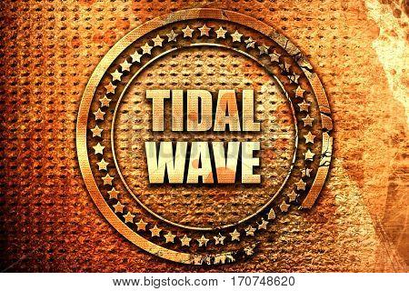 tidal wave, 3D rendering, text on metal