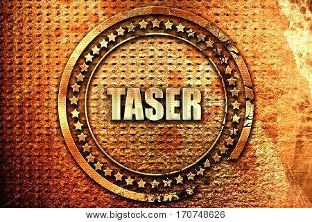 taser, 3D rendering, text on metal
