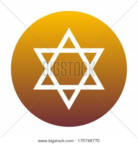 Shield Magen David Star. Symbol of Israel. White icon in circle with golden gradient as background. Isolated.