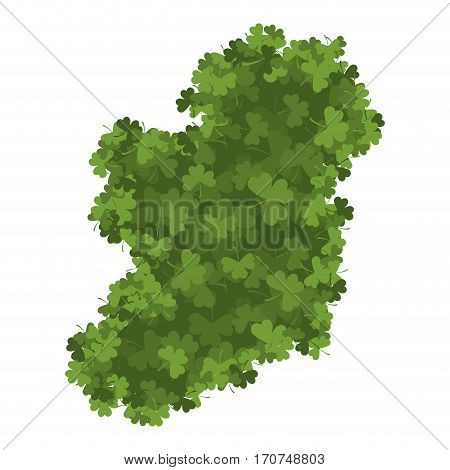 Ireland Map Of Clover. Shamrock Irish Land Area