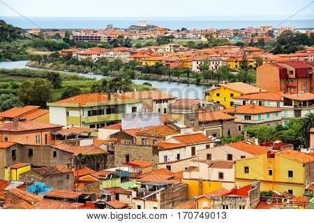 Medieval town of Bosa and Temo river, Sardinia, Italy