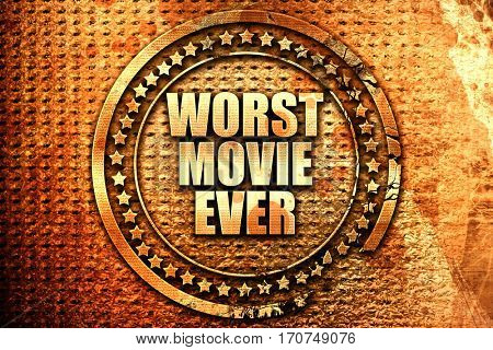 worst movie ever, 3D rendering, text on metal