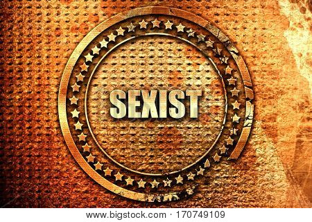 sexist, 3D rendering, text on metal
