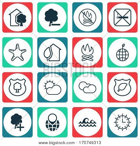 Set Of 16 Ecology Icons. Includes Delete Woods, House, Sun Clock And Other Symbols. Beautiful Design Elements.