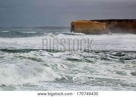 Strong waves of the Southern Ocean in Port Campbell, Great Ocean Road, Australia
