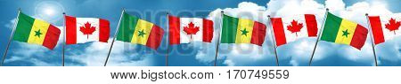 Senegal flag with Canada flag, 3D rendering