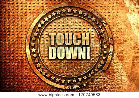 touchdown, 3D rendering, text on metal