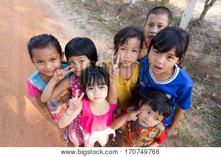 HPA-AN, MYANMAR - JANUARY 21, 2017 : A group of Karen tribe kids is posing in a village near Hpa-An, Myanmar