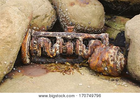 Engine block washed ashore from the sea