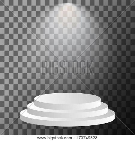 Stage podium illuminated spotlight. Scene illumination with cold light effect. Vector illustration.