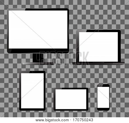 PC monitor, smartphone, laptop and computer tablet set. Electronic devices with blank screens. Vector illustration.