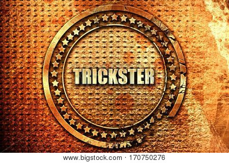 trickster, 3D rendering, text on metal