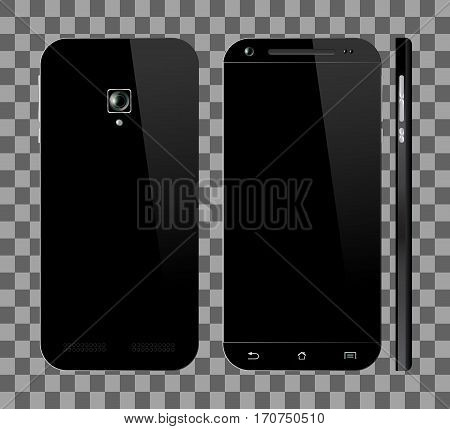 Realistic black smartphone with blank screen. Front, back and side view. Cell phone mockup design. Mobile phone vector illustration.