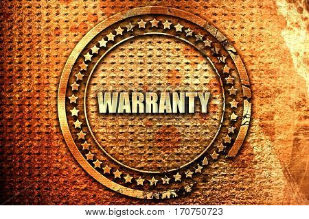 warranty, 3D rendering, text on metal