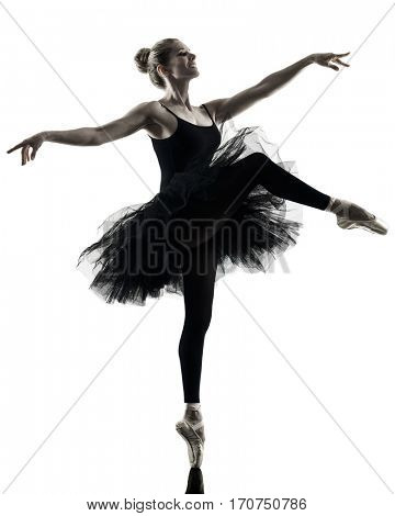 one caucasian woman Ballerina dancer dancing isolated on white background in  silhouette