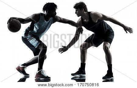 two basketball players men isolated in silhouette shadow on white background