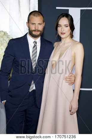 Jamie Dornan and Dakota Johnson at the Los Angeles premiere of 'Fifty Shades Darker' held at the Theatre at Ace Hotel in Los Angeles, USA on February 2, 2017.