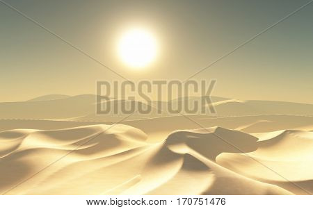 3D render of a hot desert landscape