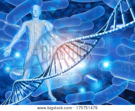 3D medical background with male figure with skeleton and DNA strands