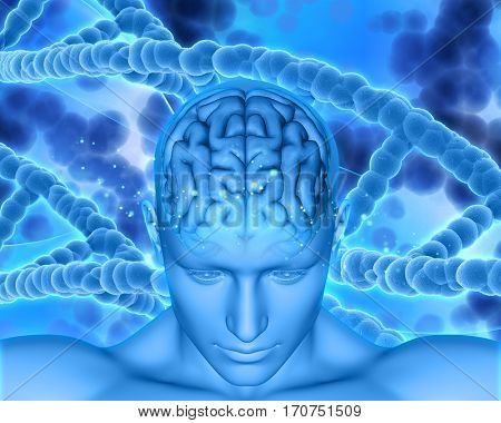3D render of a medical background with male head showing brain with DNA strands