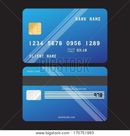 Illustration credit card icon. Realistic vector Credit Card two sides. Credit card vector
