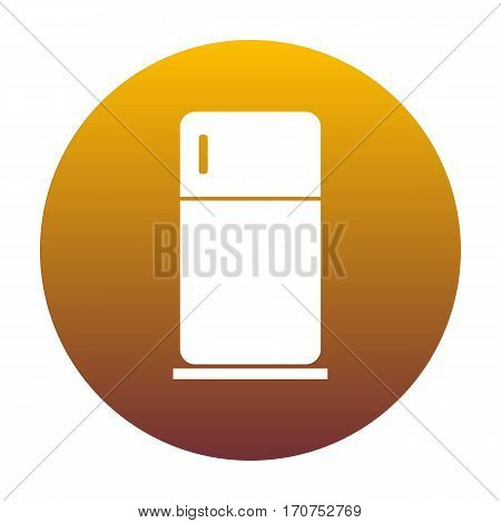 Refrigerator sign illustration. White icon in circle with golden gradient as background. Isolated.
