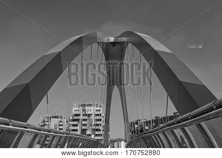 Milan (Lombardy Italy): modern buildings in the new Portello area: bridge. Black and white