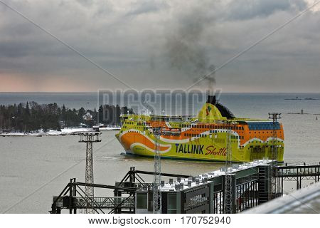 HELSINKI, FINLAND - NOVEMBER 4, 2016: Fast ferry Superstar of Tallink departs to Tallinn. Built in 2008, the ship has passenger capacity of 2080