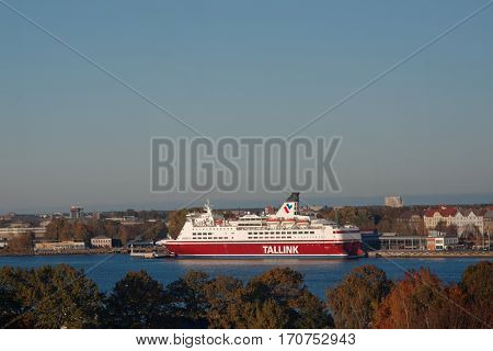 RIGA, LATVIA - OCTOBER 15, 2016: Cruise-ferry ship Isabelle of Tallink in the port of Riga. The ship built in 1989 and has the capacity for 2480 passengers