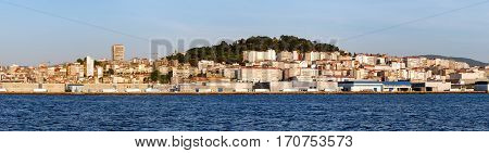 A view of Vigo at sunset from the sea (Galicia Spain)