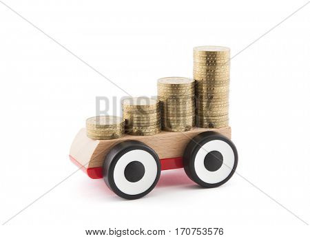 Saving money for a car. Clipping path included.