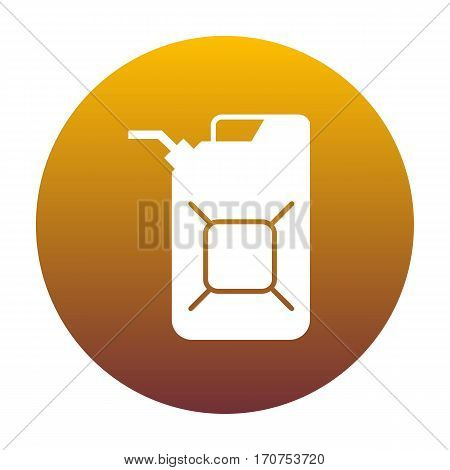 Jerrycan oil sign. Jerry can oil sign. White icon in circle with golden gradient as background. Isolated.