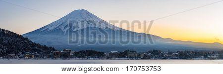 Mountain Fuji view from the Kawaguchiko lake Kawaguchi sunset panorama