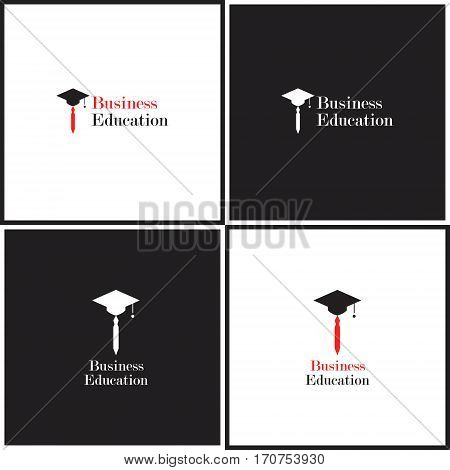Vector eps logotype or illustration showing business education with tie and hat