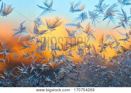 Frost pattern on the window over sunset background