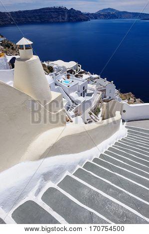 View of Oia village, Santorini Greece. Copyspace